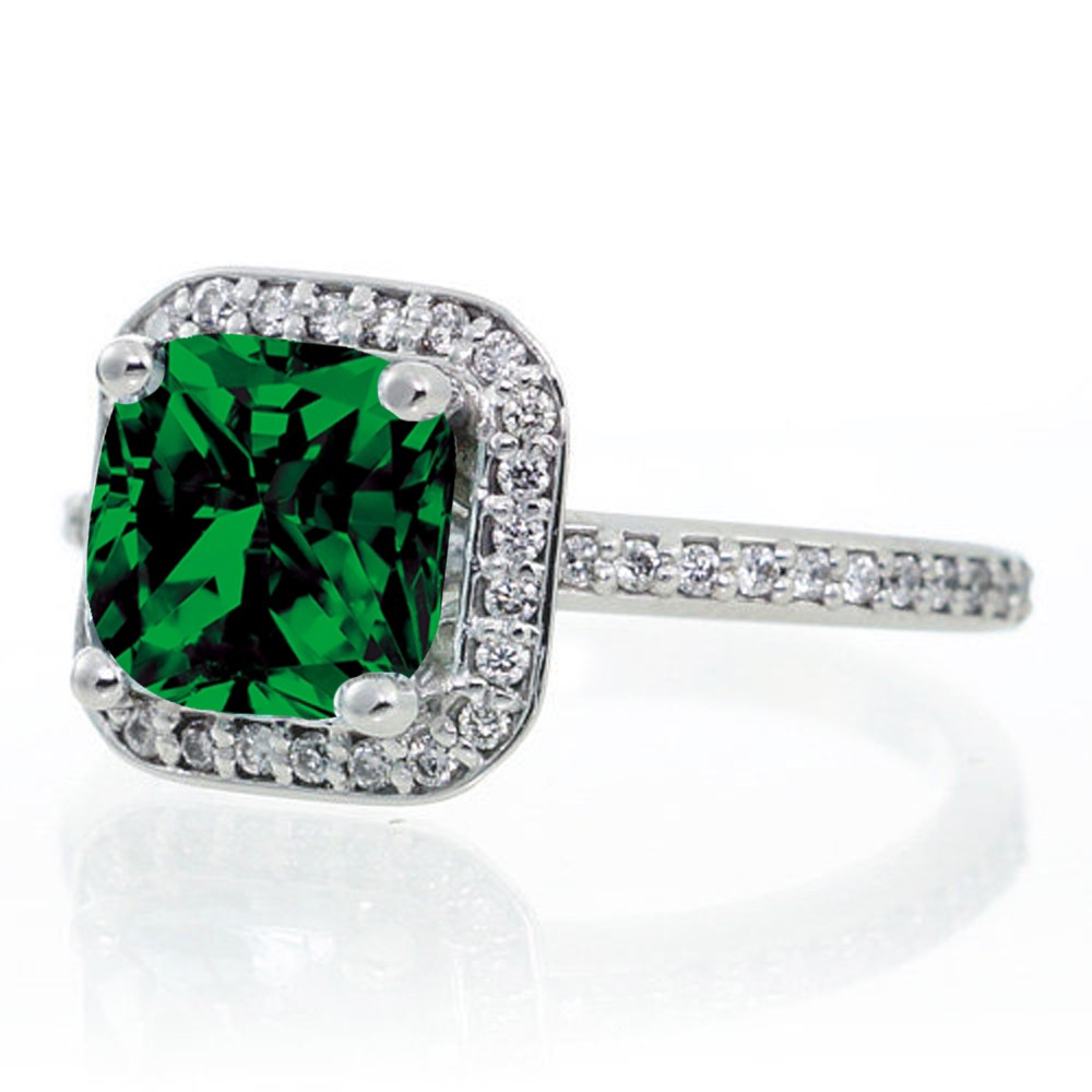 1 5 Carat Princess Cut Emerald Classic Halo Engagement Ring on 10k White Gold