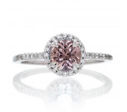 1.5 Carat Round Cut Emerald Halo Classic Diamond Engagement Ring on 10k White Gold