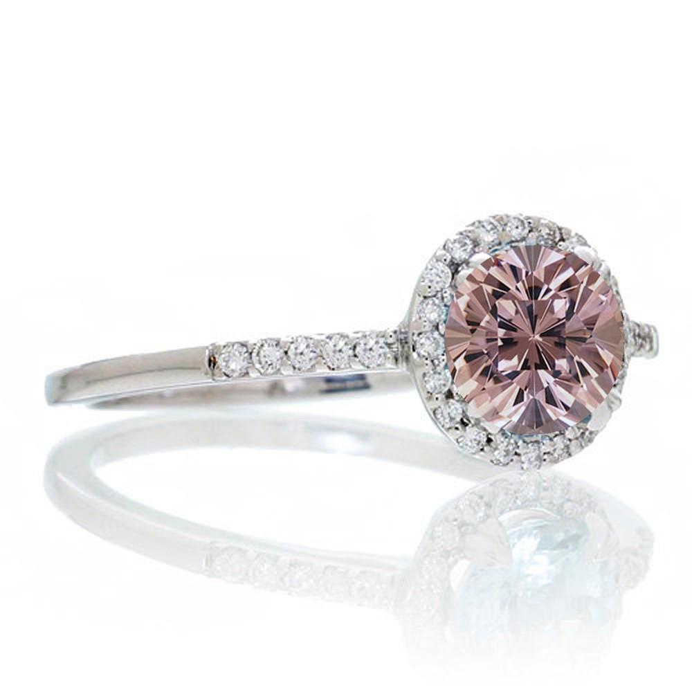 1 5 Carat Round Cut Morganite Halo Engagement Ring for Women on 10k White Gol