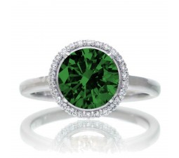 1.25 Carat Round Cut Classic Halo Emerald and Diamond Engagement Ring on 10k White Gold