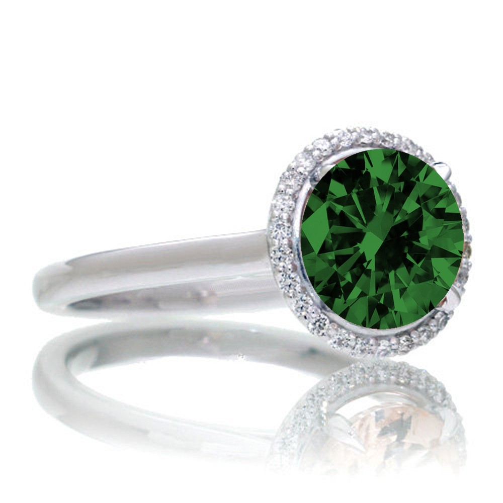 125 carat round cut classic halo emerald and diamond for Emerald and diamond wedding ring