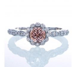 1.5 Carat Round Cut Emerald and Diamond Flower Vintage Designer Engagement Ring on 10k White Gold