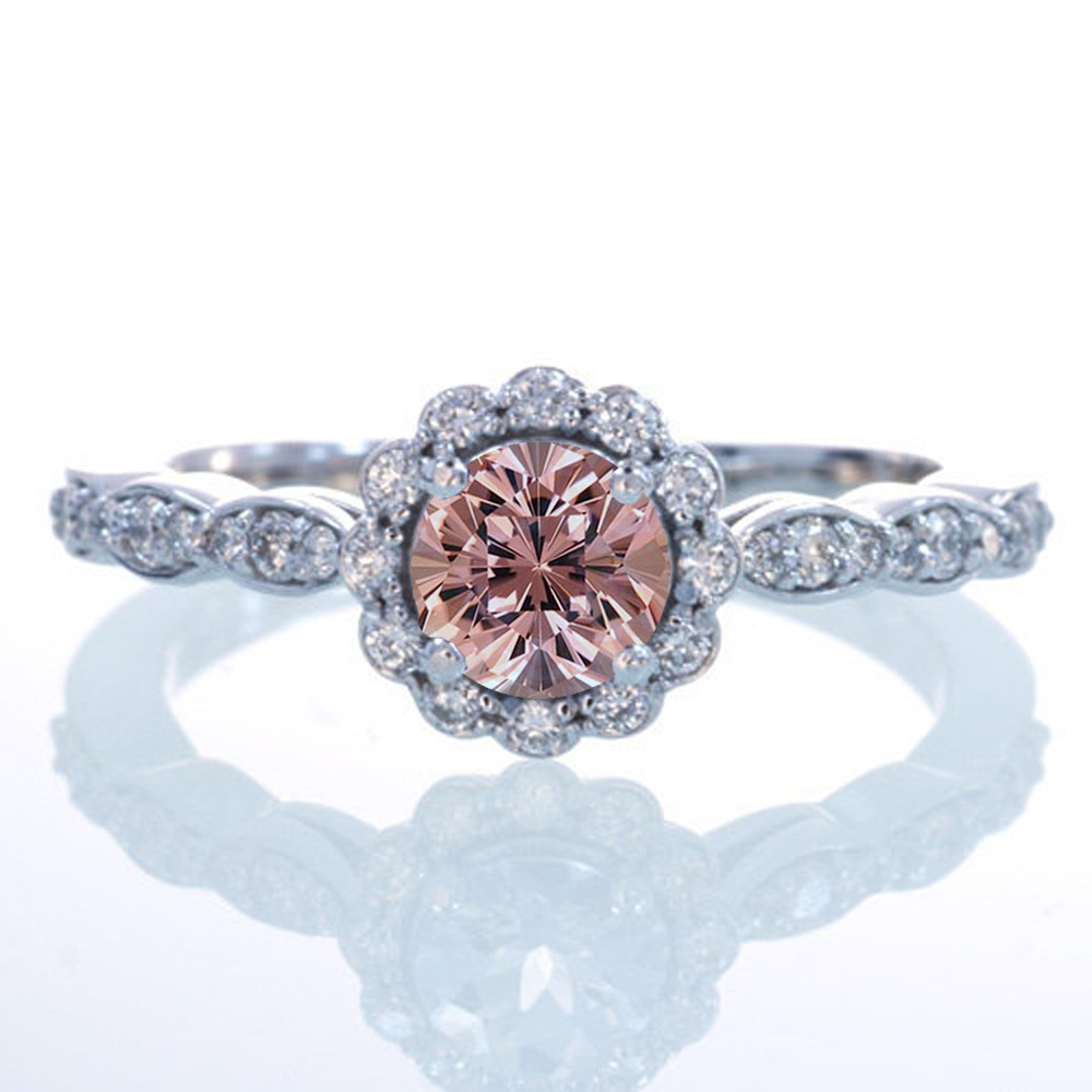 1 5 Carat Round Cut Morganite And Diamond Flower Vintage