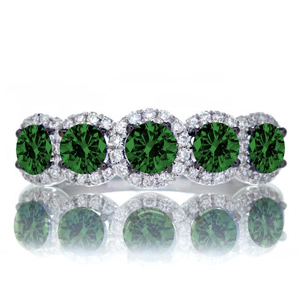 15 carat round cut classic five stone emerald and white diamond wedding band on 10k white gold
