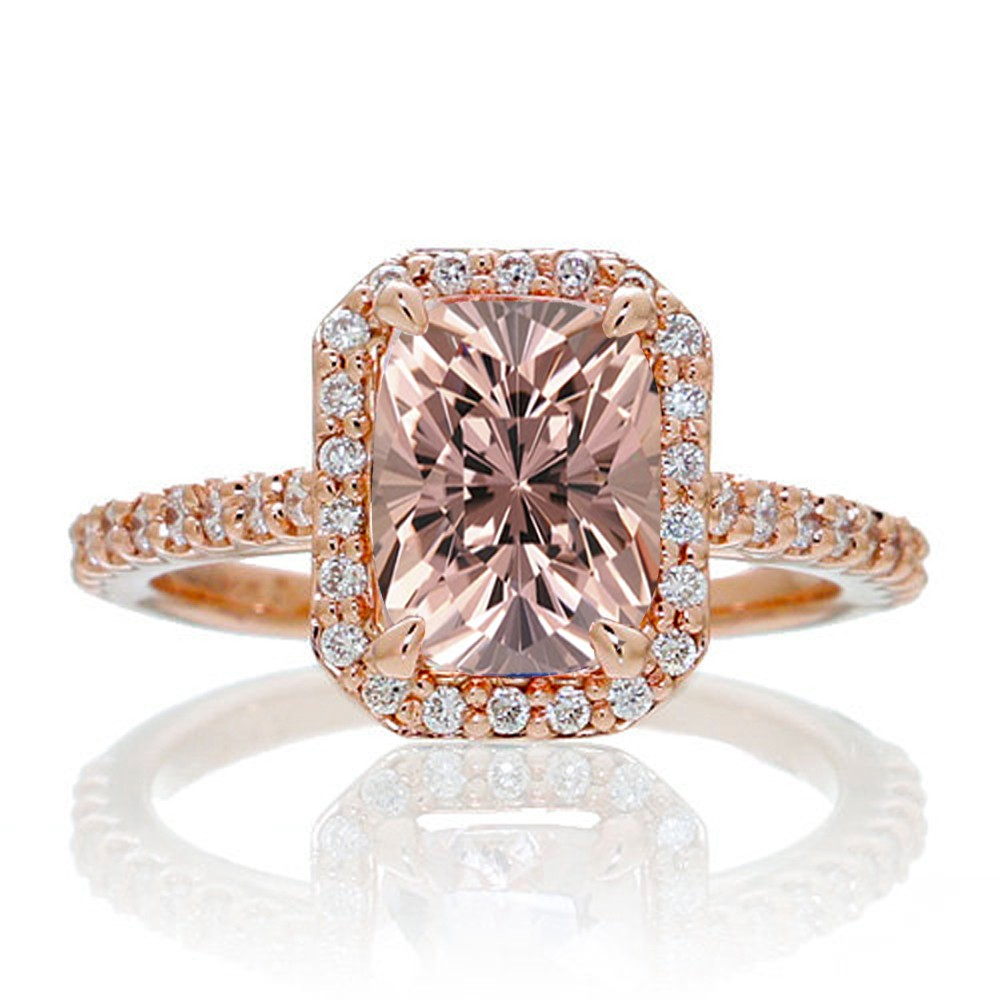 1 5 Carat Emerald Cut Morganite and Diamond Halo Engagement Ring on 10k Rose