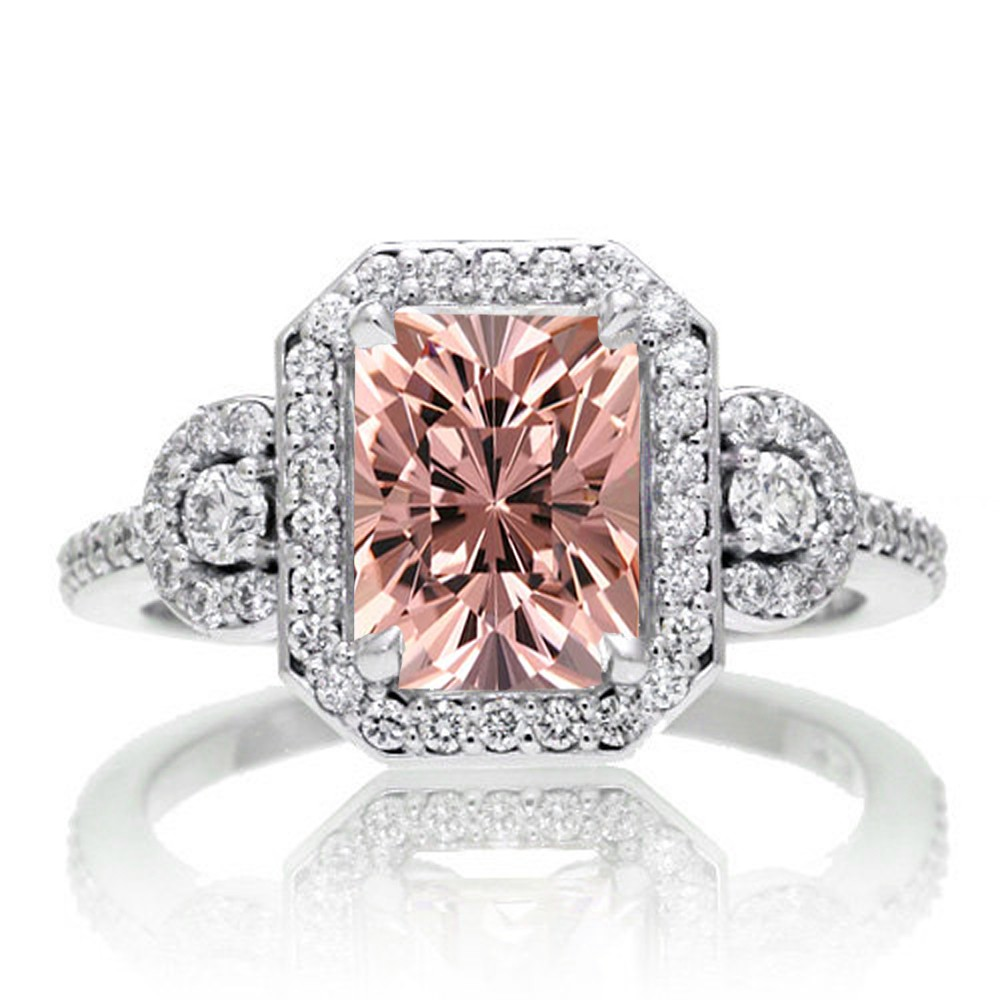 2 Carat Emerald Cut Morganite and White Diamond Halo Engagement Ring on 10k  White Gold