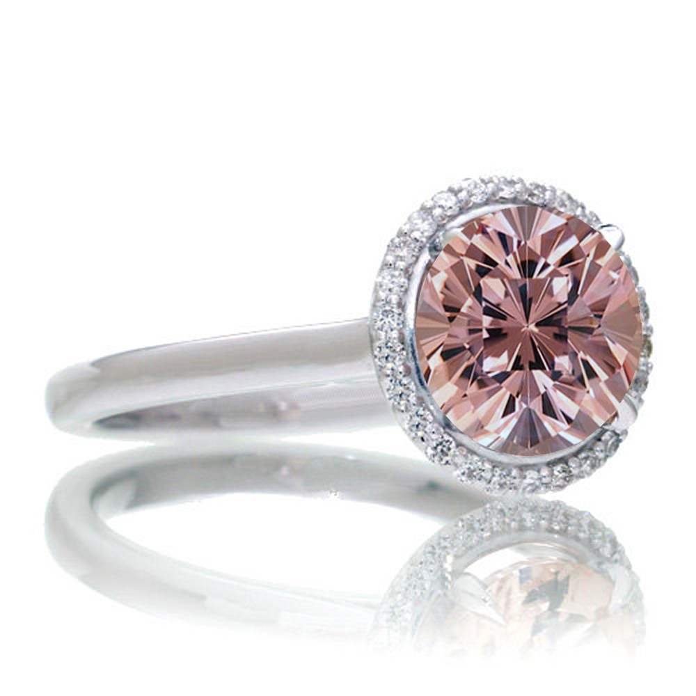 1 25 Carat Round Cut Classic Halo Morganite And Diamond