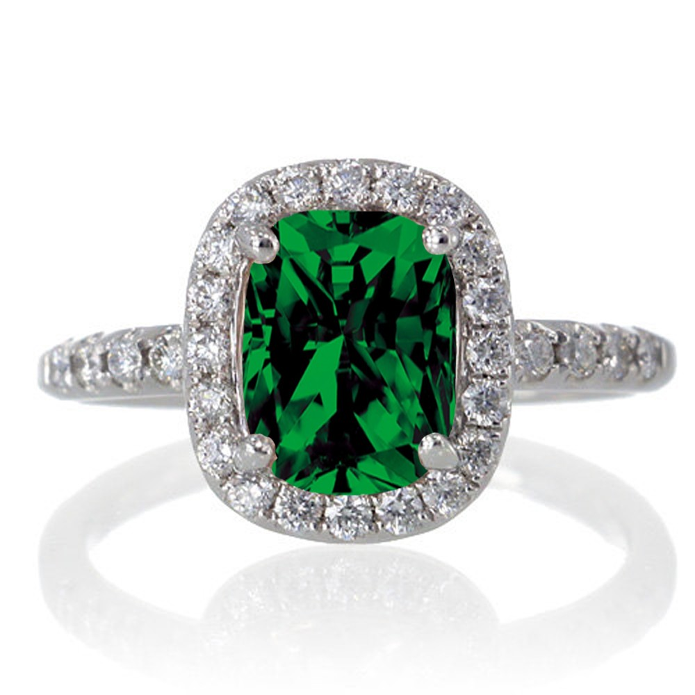 1 5 Carat Cushion Cut Emerald Antique Diamond Engagement Ring on 10k White Go