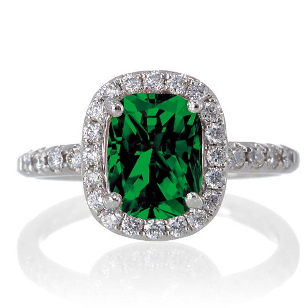 1 5 Carat Cushion Cut Emerald Antique Diamond Engagement Ring on 10k White Go