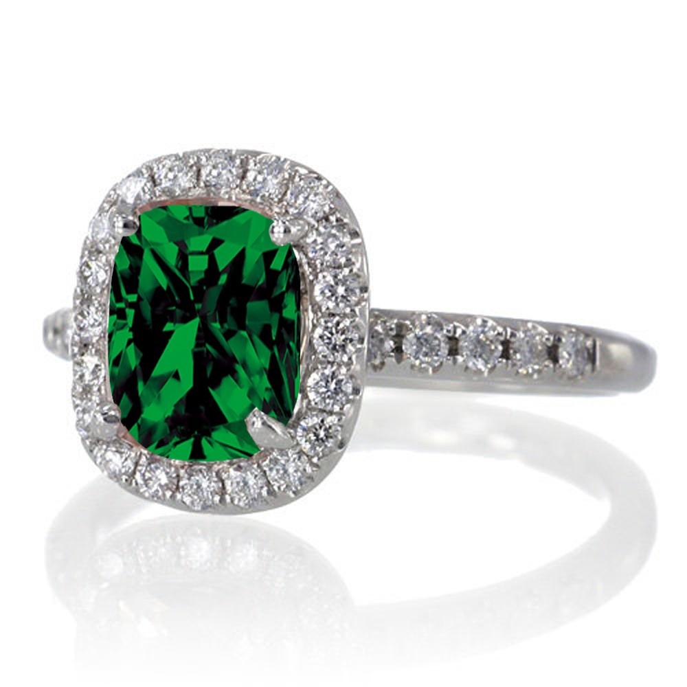 1 5 carat cushion cut emerald antique engagement