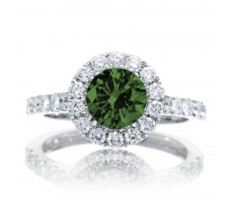 1.5 Carat Round Classic Halo Emerald and Diamond Engagment ring on 10k White Gold