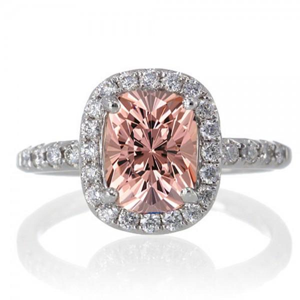 1 5 Carat Cushion Cut Morganite Antique Diamond Engagement Ring on 10k White