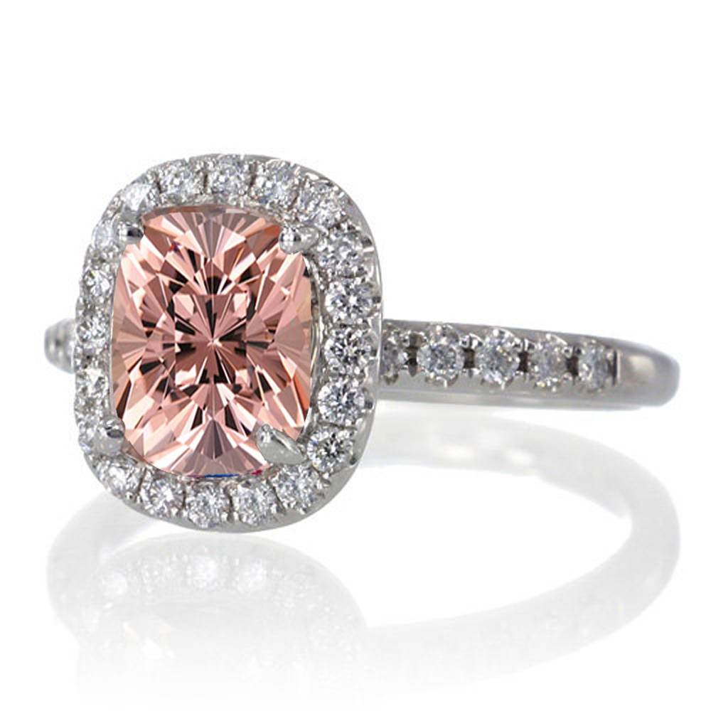 1 5 carat cushion cut morganite antique engagement