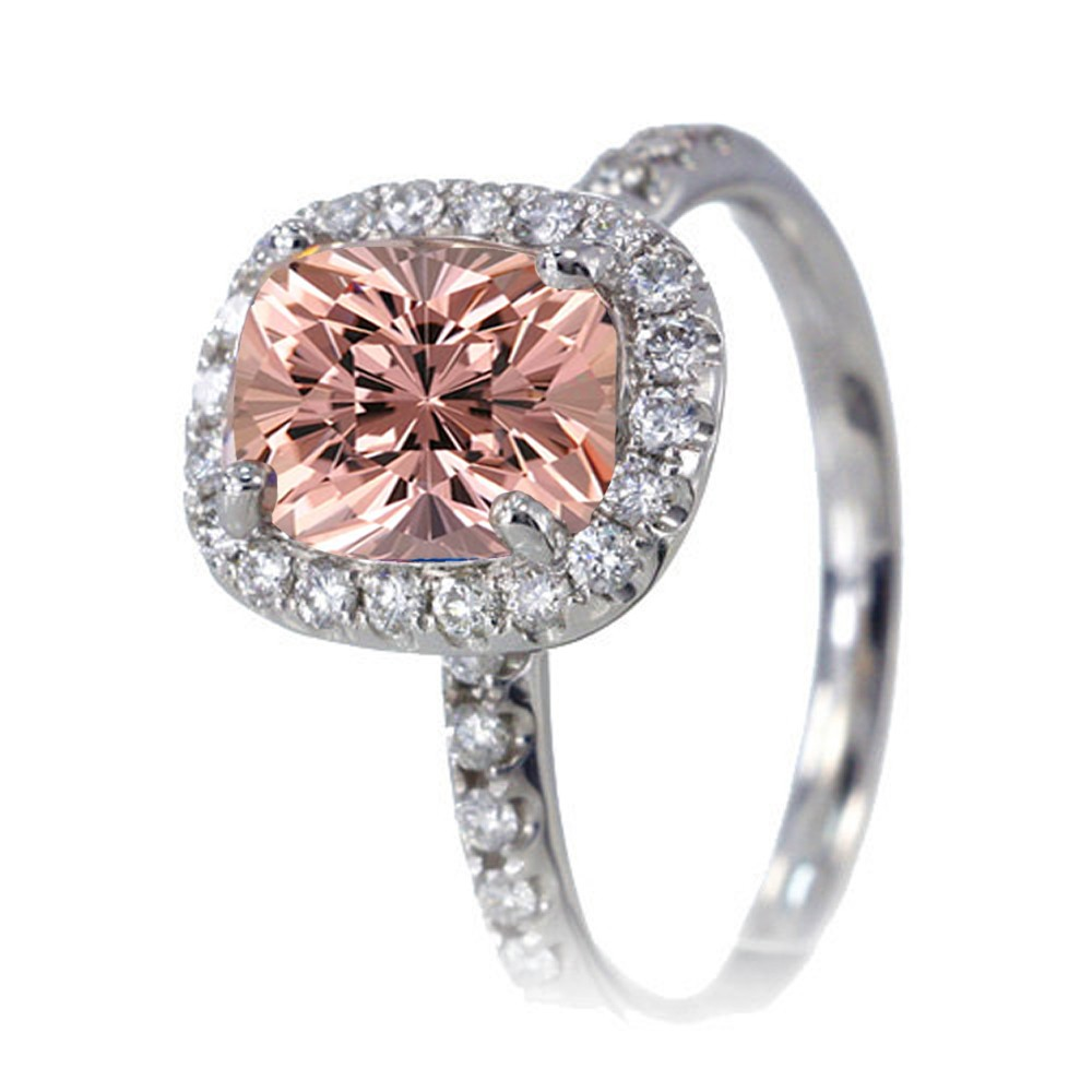 1 5 Carat Cushion Cut Morganite Antique Diamond Engagement