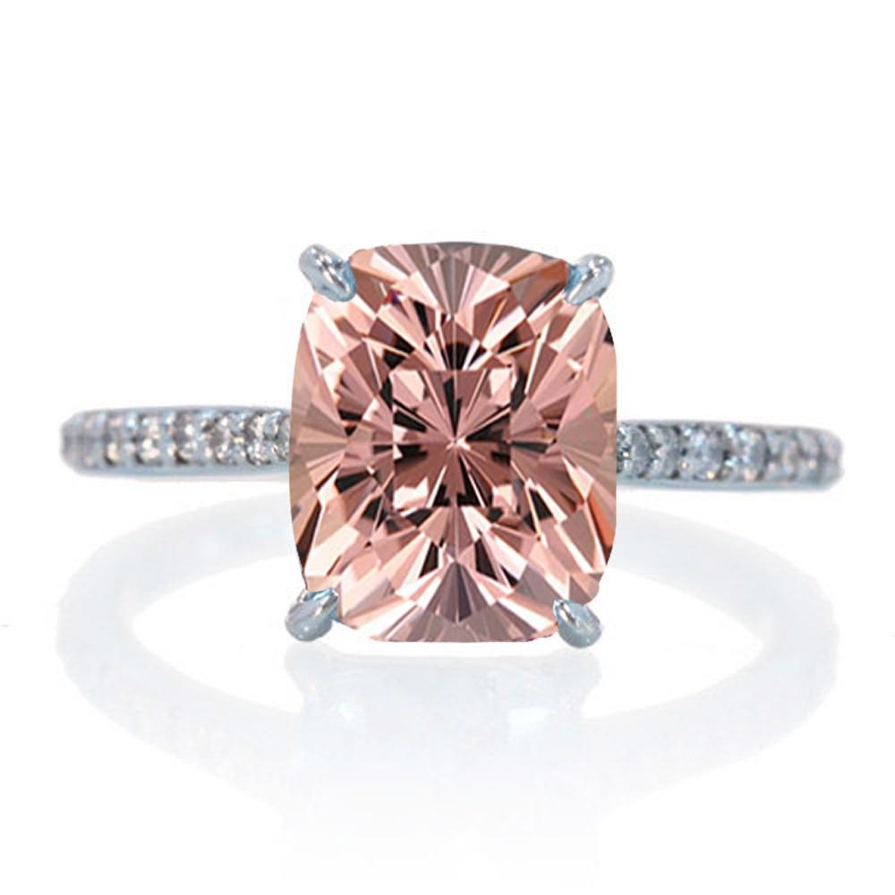 2 50 Carat Emerald Cut Morganite Halo Desiger Engagement