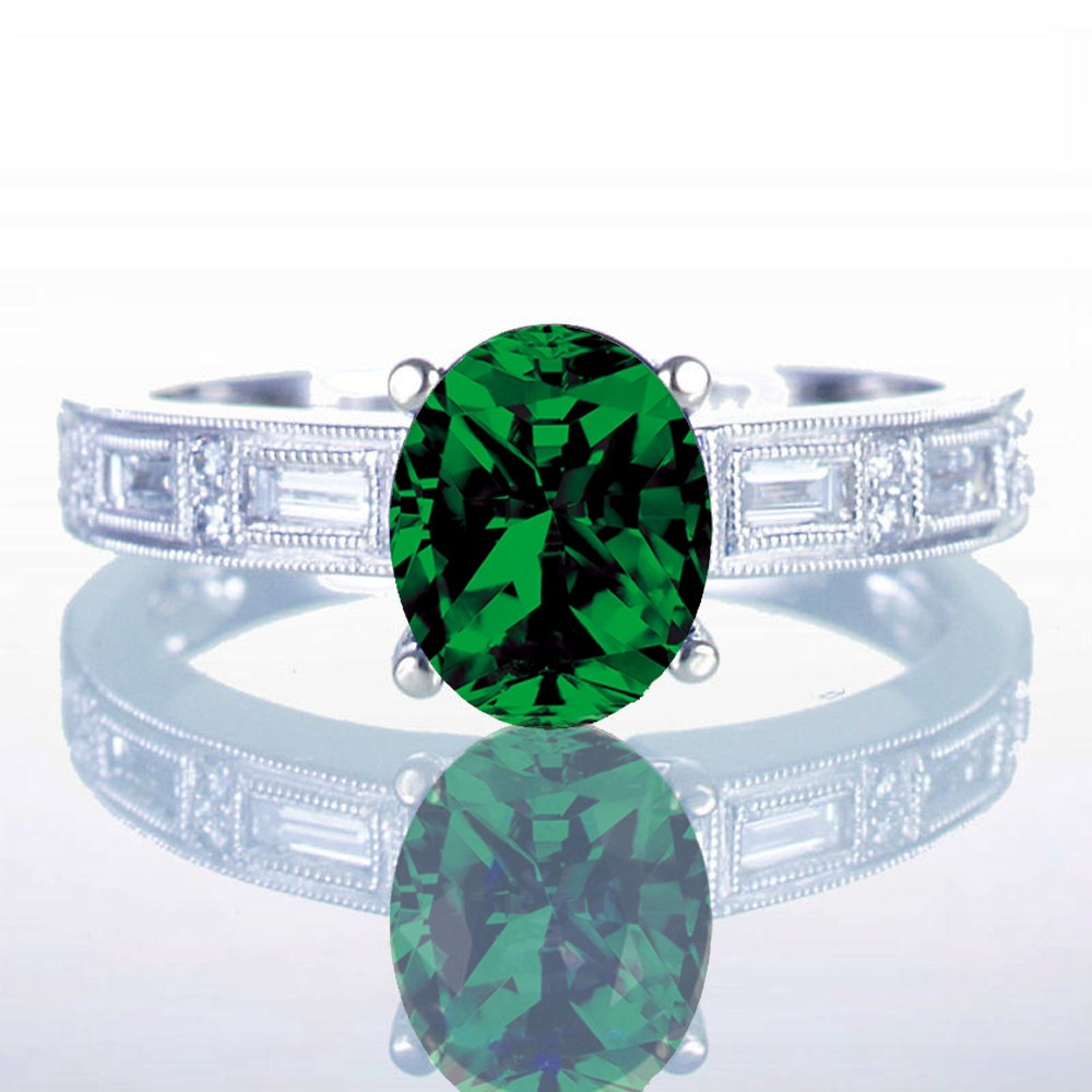 1 5 carat oval cut emerald and baguette milgrain engagement ring on 10k white gold