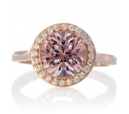 1.25 Carat Round Halo Classic Diamond and Emerald Engagement Ring on 10 Rose Gold