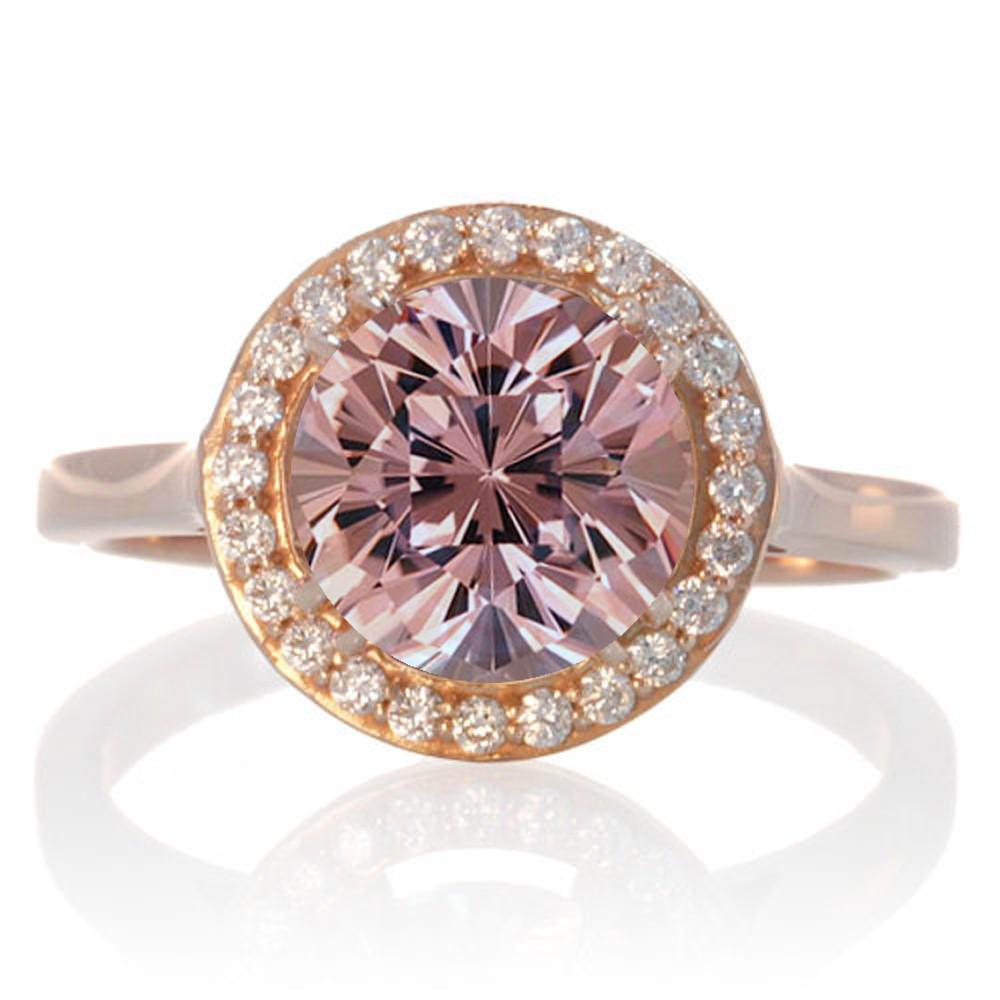 1 25 Carat Round Halo Classic Diamond And Morganite