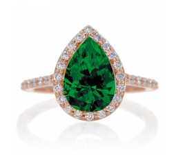 1.5 Carat Pear Cut Emerald Halo Desiger Engagement for Woman on 10k White Gold