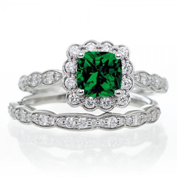 Diamond Rings For Sale Walmart: 2 Carat Princess Cut Emerald And Diamond Wedding Ring Set