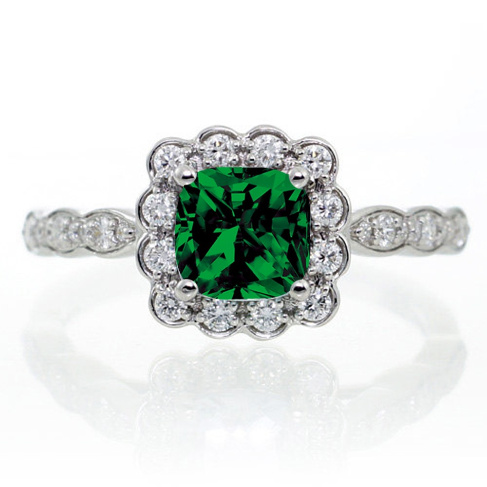 2 carat princess cut emerald and diamond wedding ring set for Emerald and diamond wedding ring