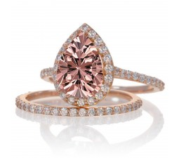 2 Carat Emerald and Diamond Halo Bridal Ring Set on 10k Rose Gold
