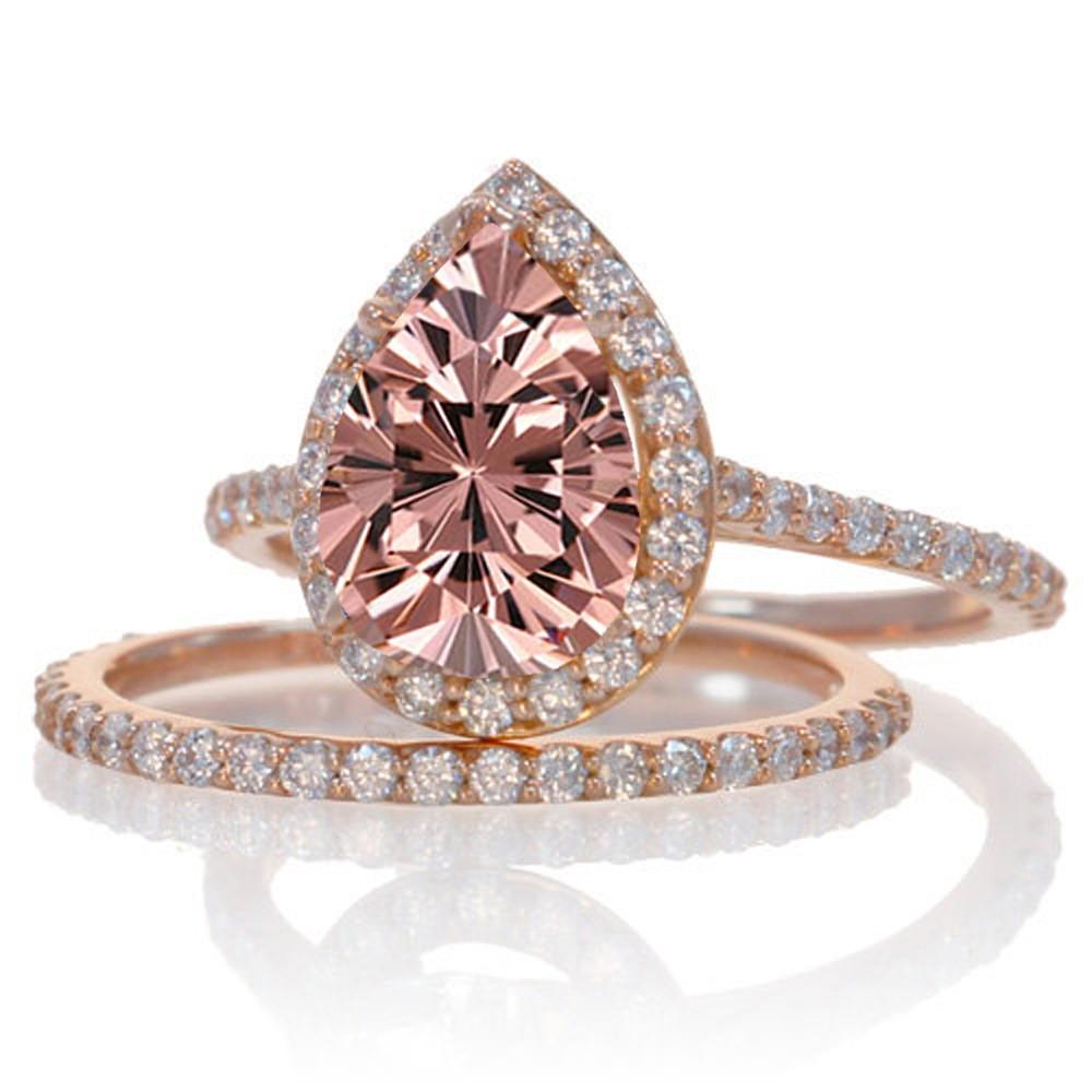 2 Carat Morganite and Diamond Halo Bridal Ring Set on 10k Rose Gold JeenJewels