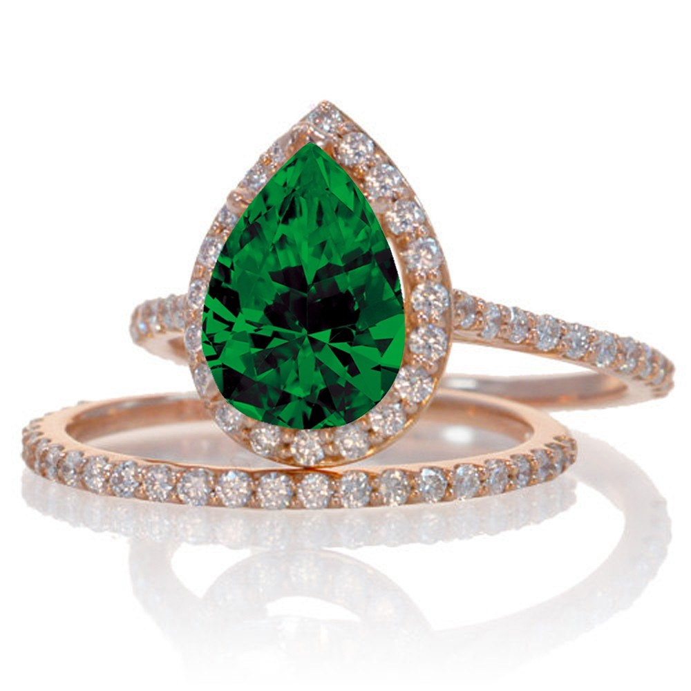 2 carat emerald and diamond halo bridal ring set on 10k for Emerald and diamond wedding ring