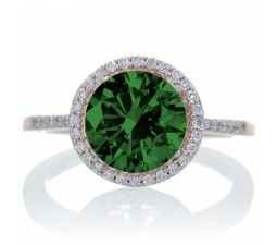 2.5 Carat Huge Emerald and Diamond Halo Classic Engagement Ring on 10k Rose Gold