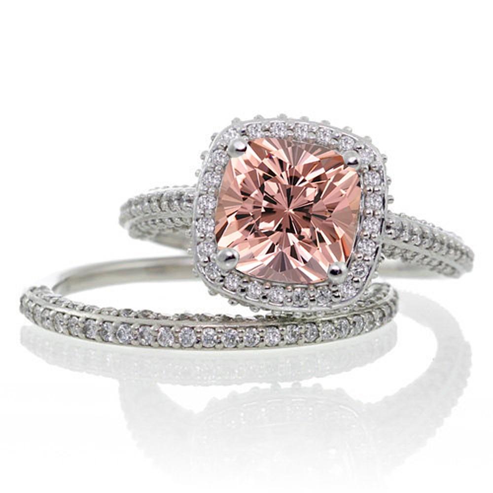 2 5 Carat Cushion Cut Designer Morganite and Diamond Halo Wedding Ring Set on