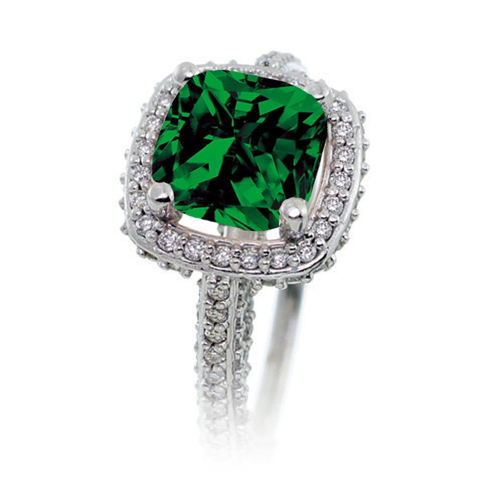 2 5 Carat Cushion Cut Designer Emerald and Diamond Halo Wedding Ring Set on 1