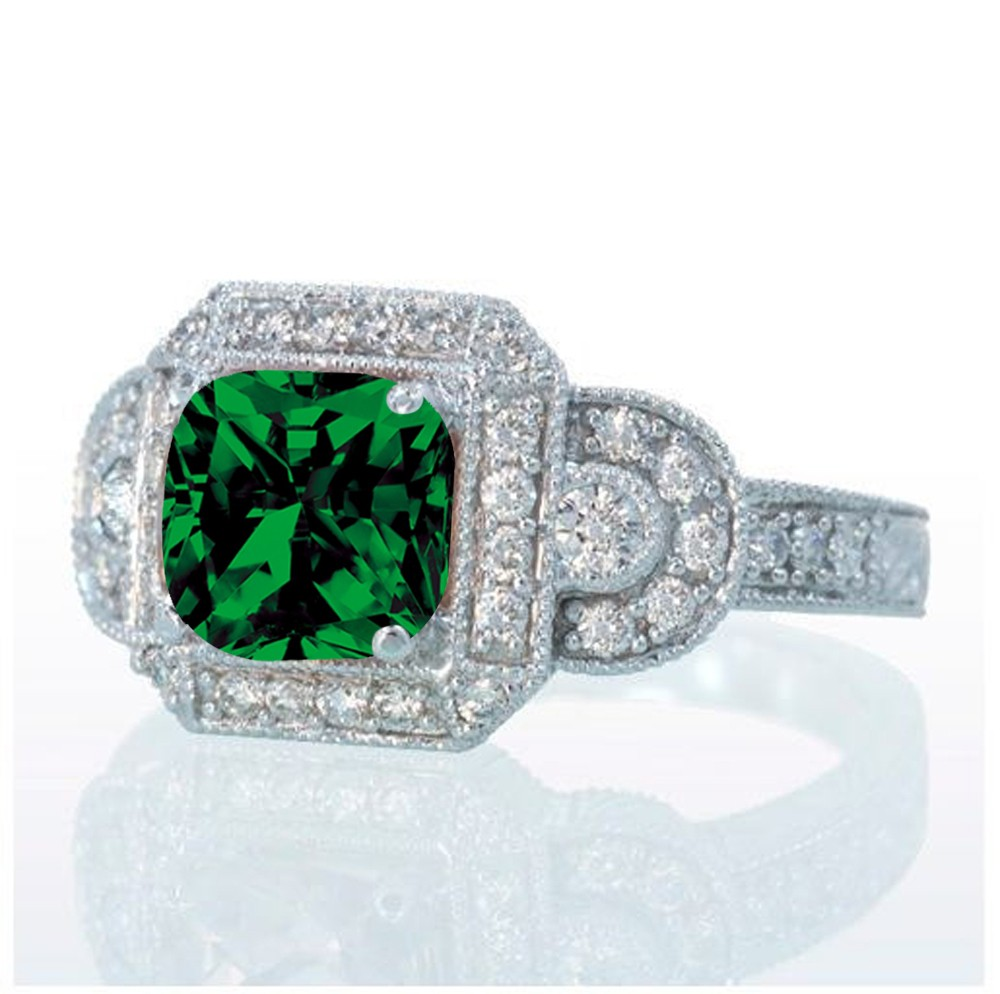 1 5 carat vintage princess cut emerald and
