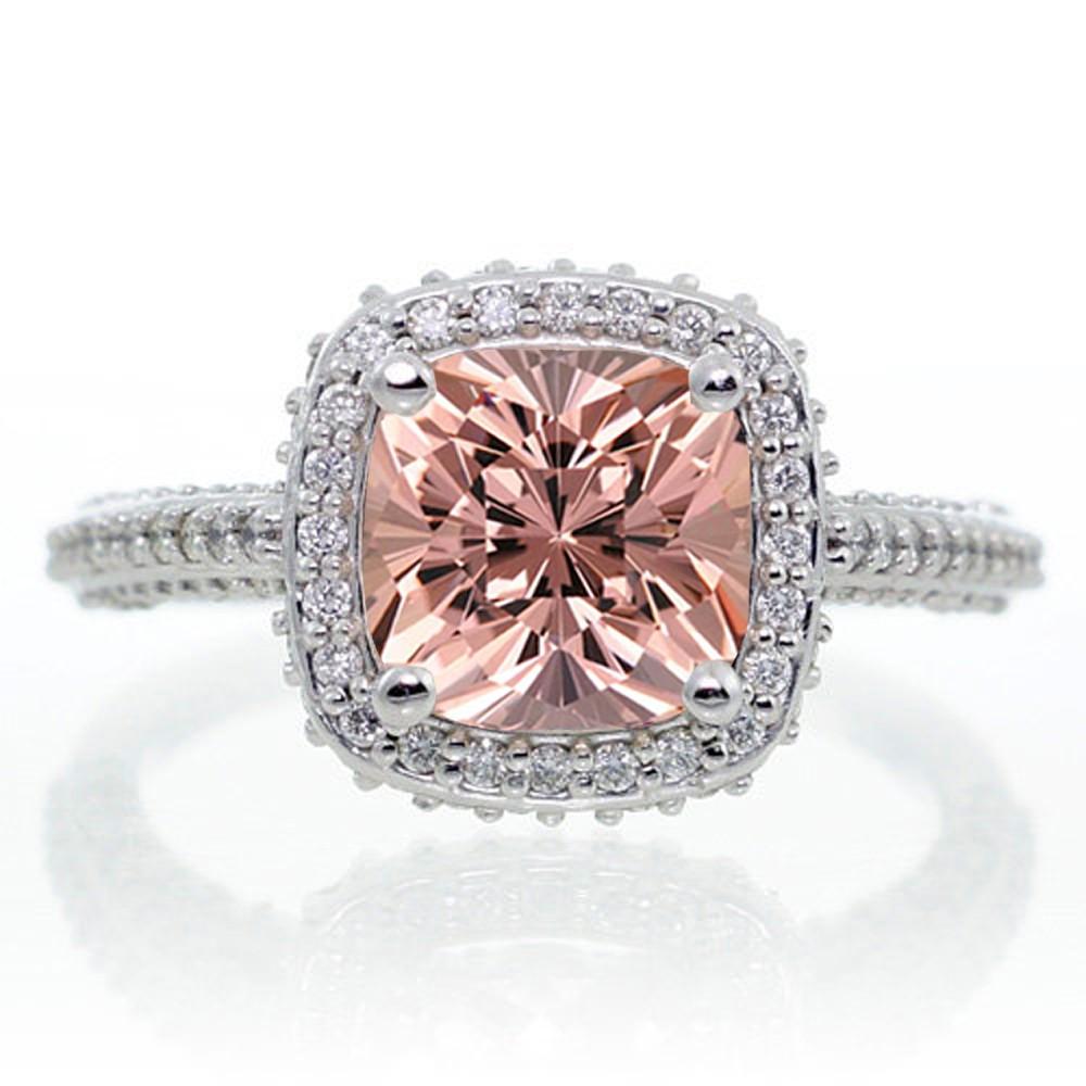 1 5 Carat Cushion Cut Designer Morganite and Diamond Halo Engagement Ring on