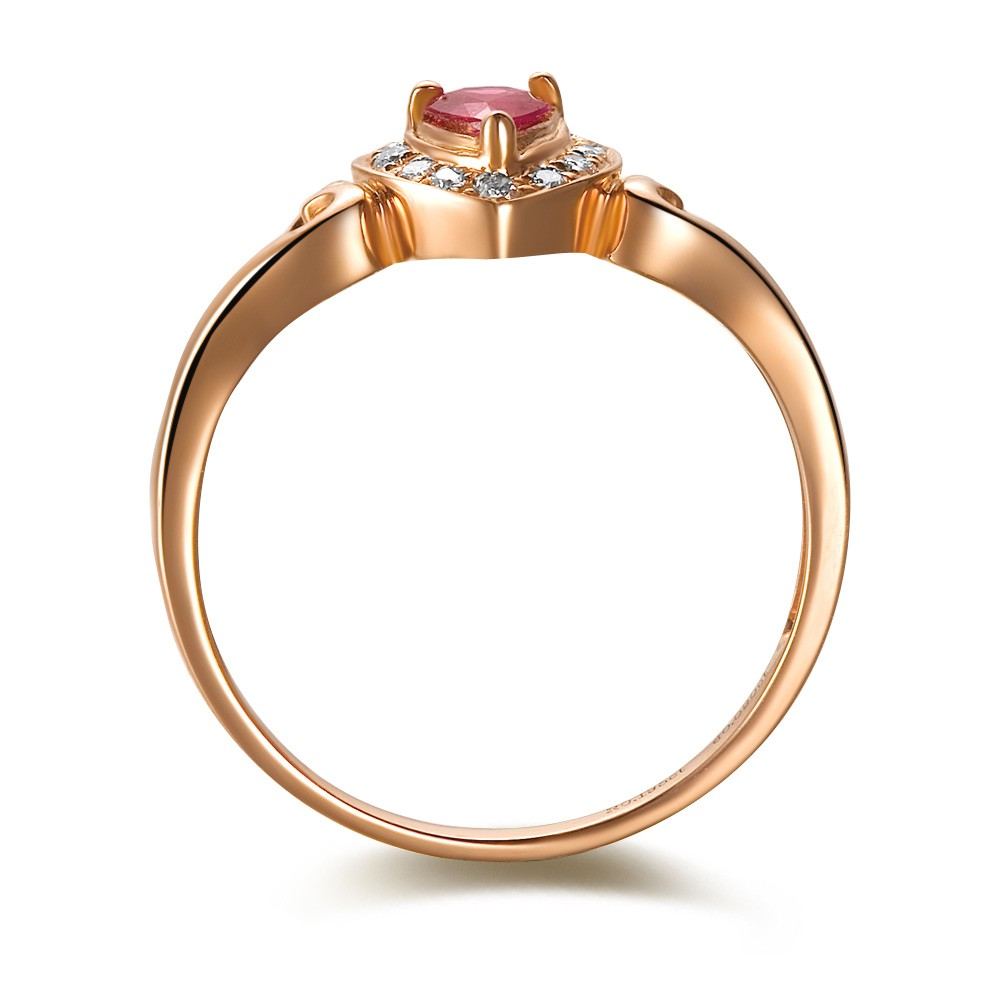 Ruby And Diamond Engagement Ring On 18k Rose Gold