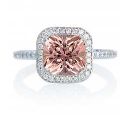 1.5 Carat Cushion Cut Classic Emerald and diamond Halo Multistone Engagement Ring on 10k White Gold
