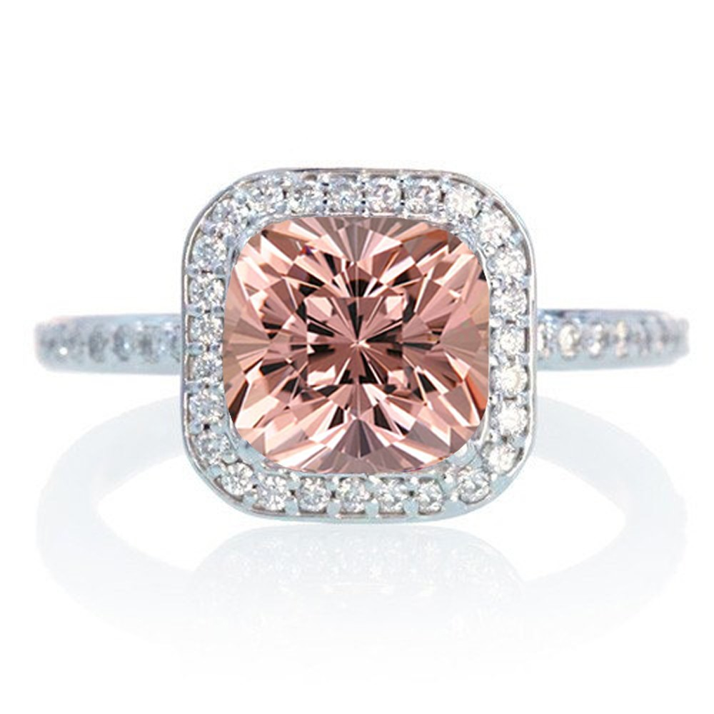 1 5 Carat Cushion Cut Classic Morganite and diamond Halo Multistone Engagemen