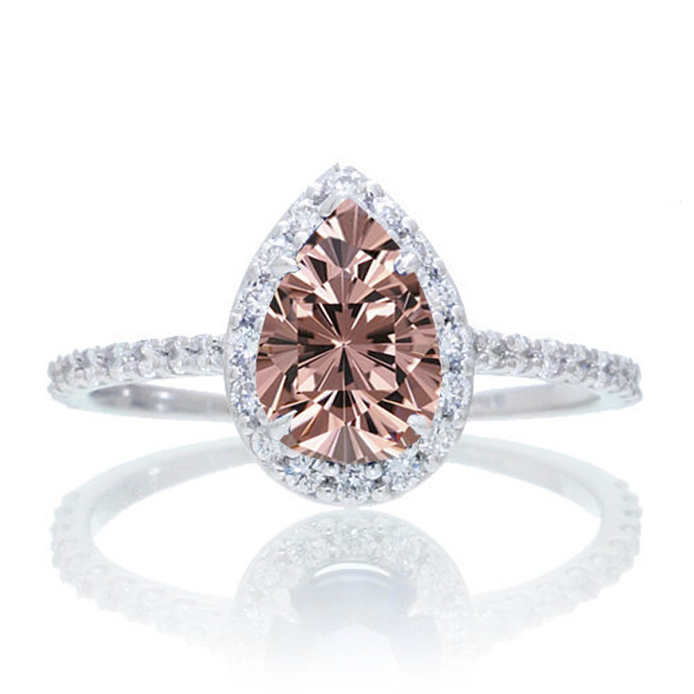 1 5 Carat Classic Pear Cut Morganite With Diamond Celebrity Engagement Ring o