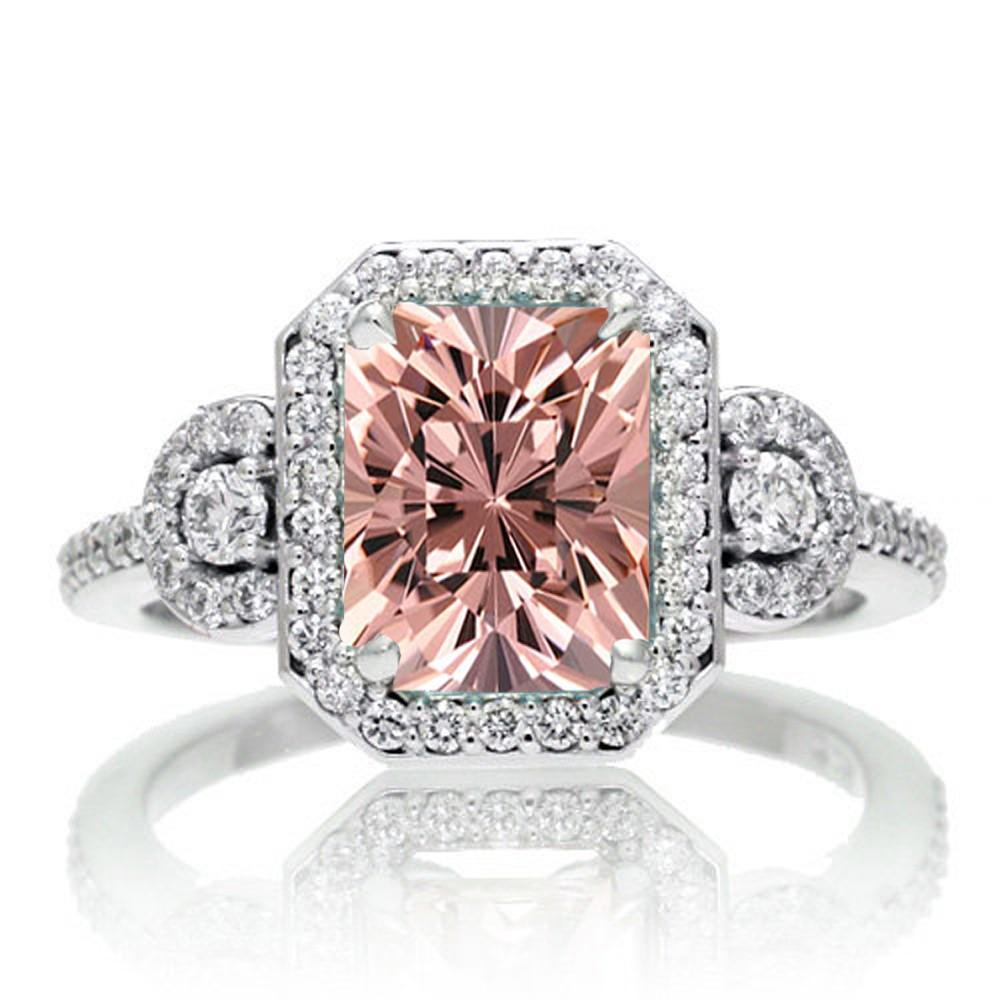 1 5 Carat Emerald Cut Three Stone Morganite Halo Diamond Ring on 10k White Go