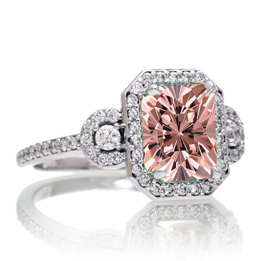 1 5 Carat Emerald Cut Three Stone Morganite Halo Diamond