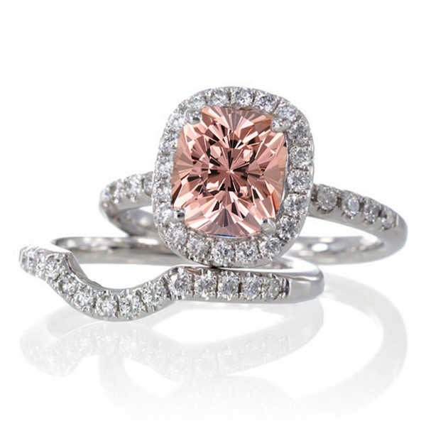 2 Carat Unique Morganite and diamond Bridal Ring Set on 10k White Gold Jeen