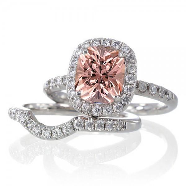 2 Carat Unique Morganite and diamond Bridal Ring Set on 10k White Gold Jeen