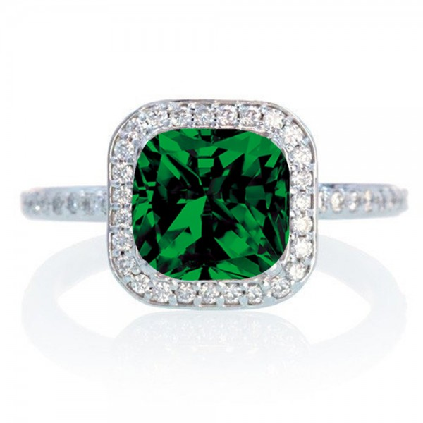 2 110 Carat Cushion Cut Diamond Halo Engagement Ring in