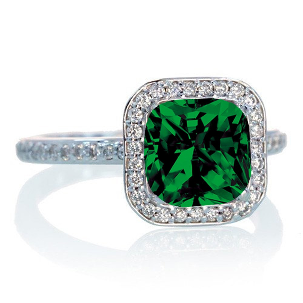 1 5 carat cushion cut classic emerald and halo