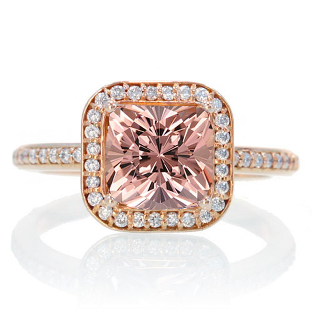 2 Carat Beautiful Morganite and diamond Halo Wedding Ring Set on 10k Rose Gol
