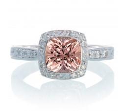 1.5 Carat Round Vintage Moraganite and Diamond Halo Wedding Ring  on 10k White Gold
