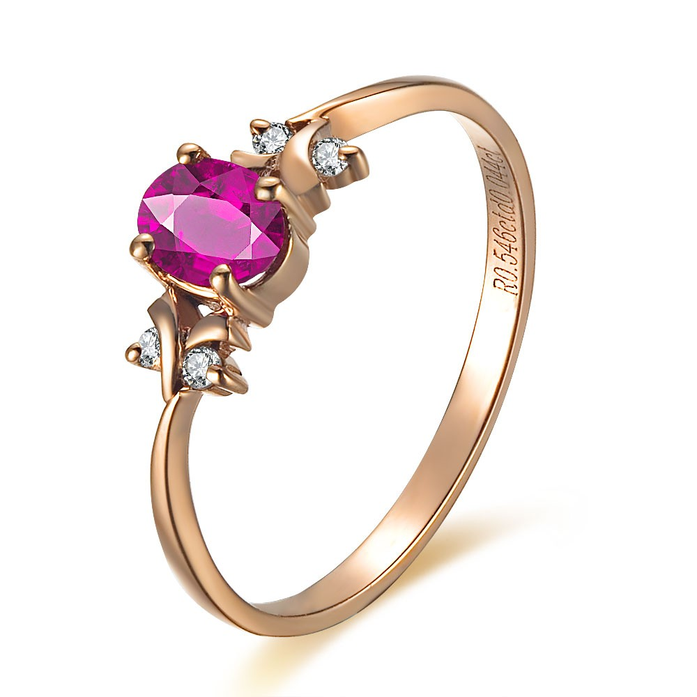Ruby And Diamond Engagement Ring On 10k Rose Gold Jeenjewels