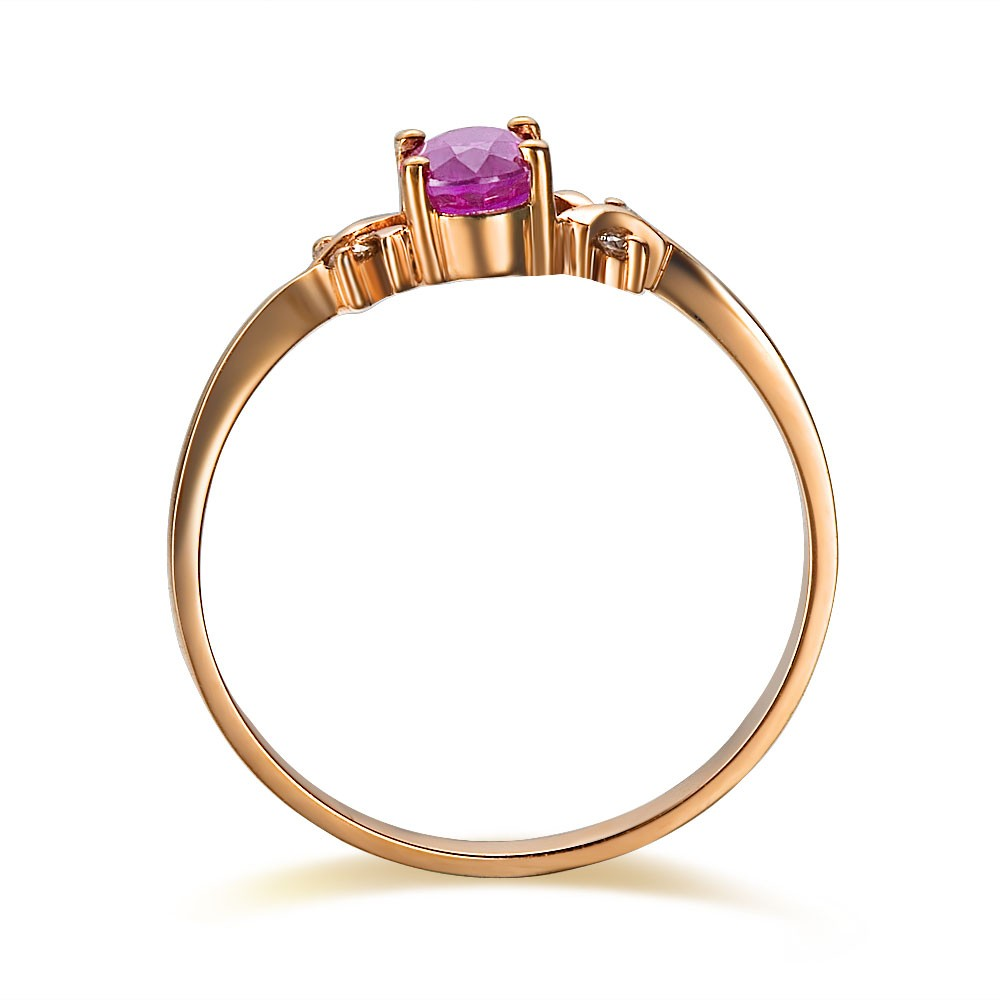 ruby and diamond engagement ring on 10k rose gold jeenjewels. Black Bedroom Furniture Sets. Home Design Ideas