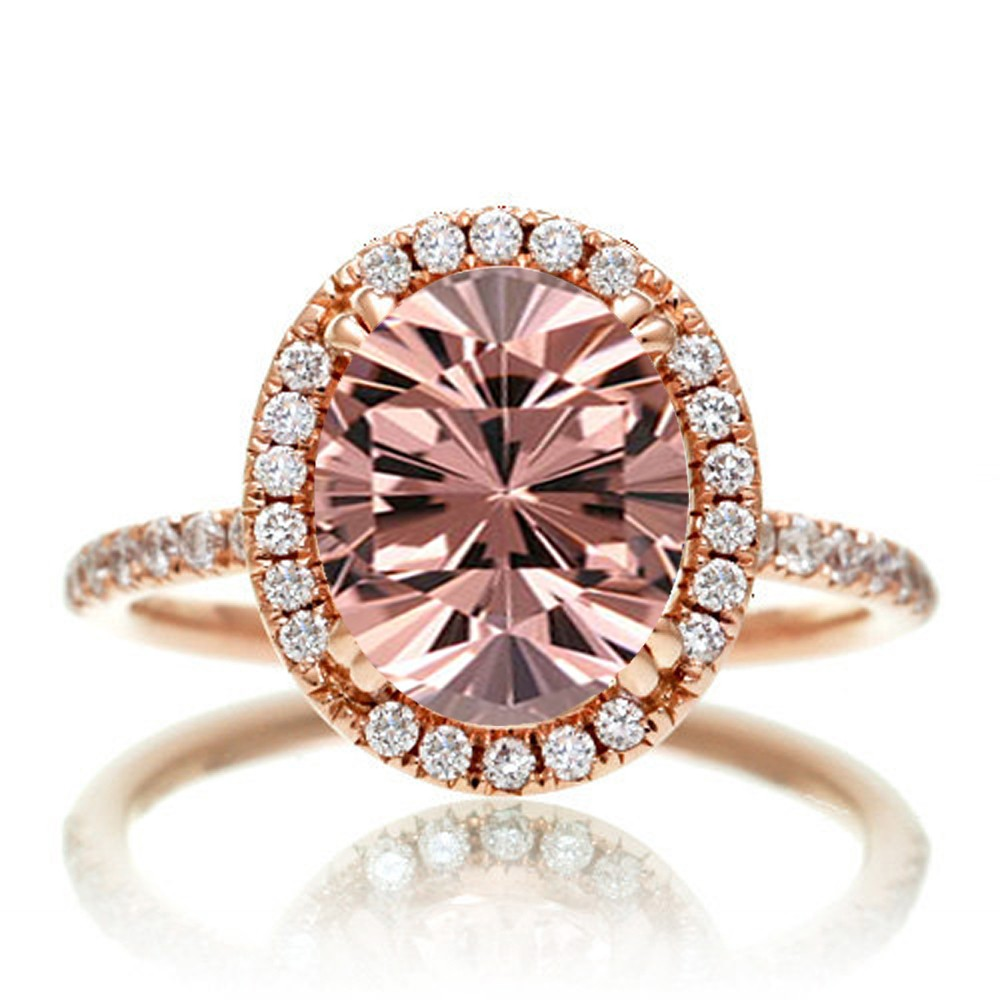 1 5 Carat Oval cut Vintage Morganite and Diamond Engagement Ring on 10k Rose