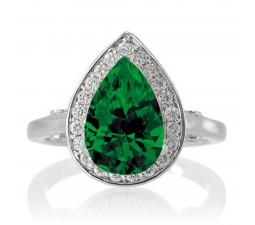 1.5 Carat Pear Cut Halo Emerald Engagement Ring  on 10k White Gold