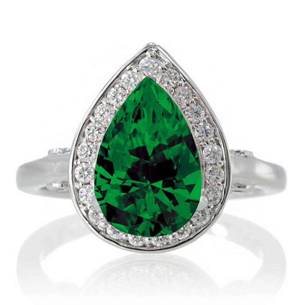 1 5 Carat Pear Cut Halo Emerald Engagement Ring on 10k White Gold JeenJewels